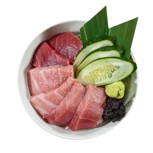 金槍魚刺身蓋飯的去背退地食物素材相片