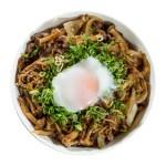 炒牛肉蘑菇溫泉蛋丼飯的去背退地食物素材相片