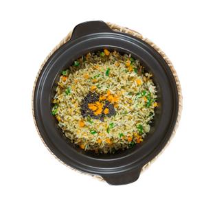 鹹蛋黃蟹膏炒飯鍋的去背退地食物素材相片