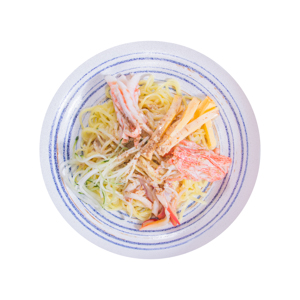 蟹棒拌乾麵的去背退地食物素材相片