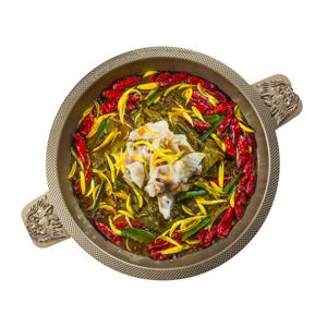 四川勁辣酸菜魚湯火鍋湯底的去背退地食物素材相片