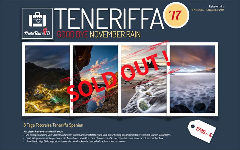 Reiseflyer Fotoreise Teneriffa Good Bye November Rain 2017