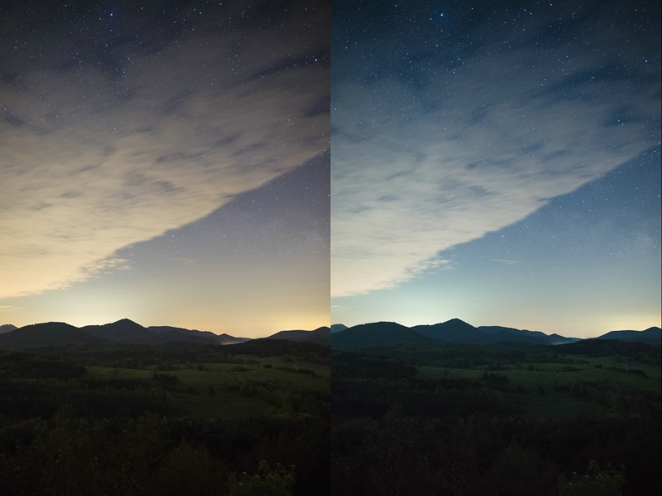 Pfälzerwald links ungefiltert - rechts mit Filter Haida Clear-Night-Filter