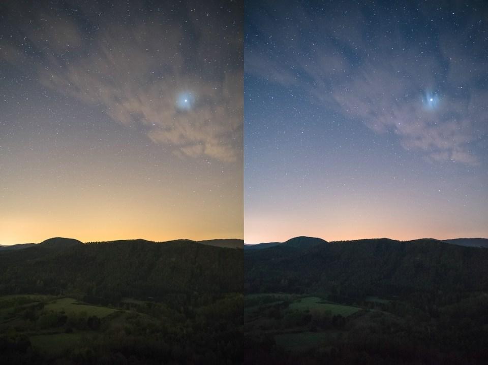 Pfälzerwald links ungefiltert - rechts mit Filter Haida Clear-Night-Filter