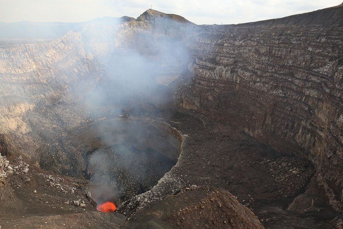 View of the 2016 lava lake at the bottom of Santiago crater. IMAGE: Richard Roscoe (PhotoVolcanica.com).