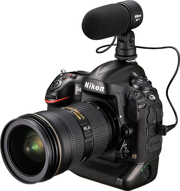 Nikon D4 with optional Stereo Microphone ME-1