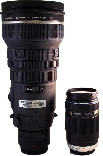 Olympus mFT 75-300mm lens (right) compared to regular 300mm lens (left)