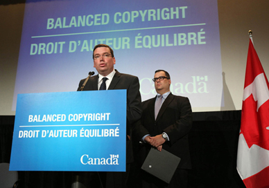 Above: The Honourable Christian Paradis, Minister of Industry, and the Honourable James Moore, Minister of Canadian Heritage and Official Languages, announced that the Copyright Modernization Act, Bill C-11, had received royal assent.