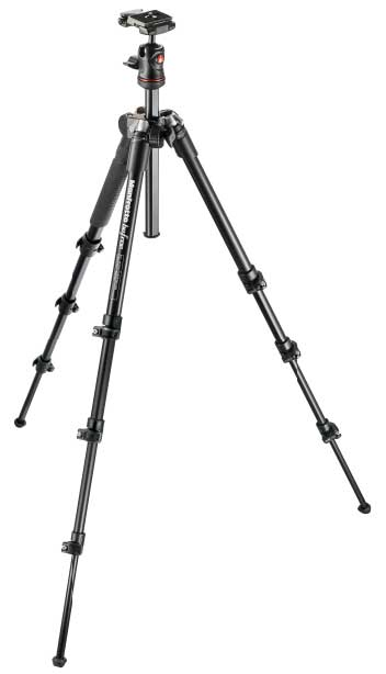 Manfrotto Befree tripod is extended