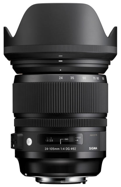 Sigma 24-105mm F4 DG OS HSM Lens with hood.