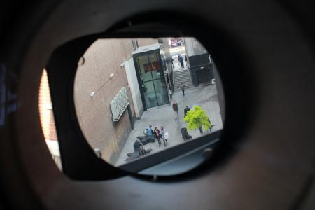 Looking through the lens and turret of the camera obscura<br />
