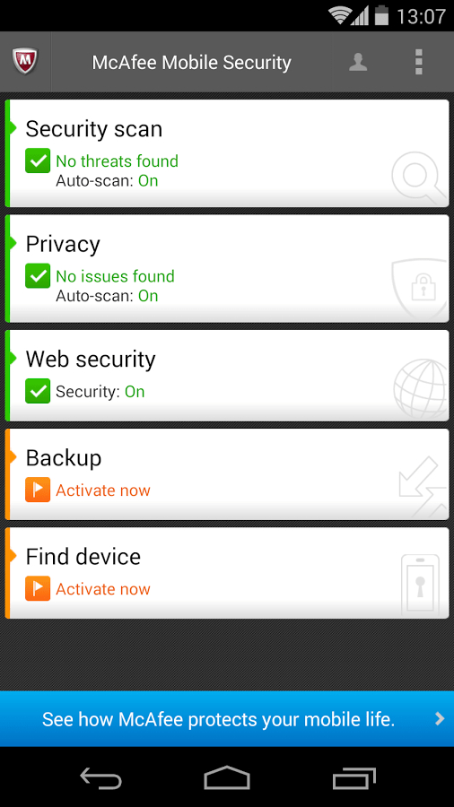 Features of McAfee Mobile Security