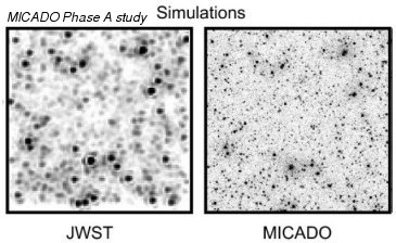 Fig.3: Comparative view of observations (top row) and simulations (lower row) of a crowded field, the center of the globular cluster Omega-Cen; upper row: today's observations with VLT (Very Large Telescope), lower row: simulated view of James-Webb-Space-Telescope (JWST) and MICADO at the E-ELT. Images by the Institute of Asrophysics.