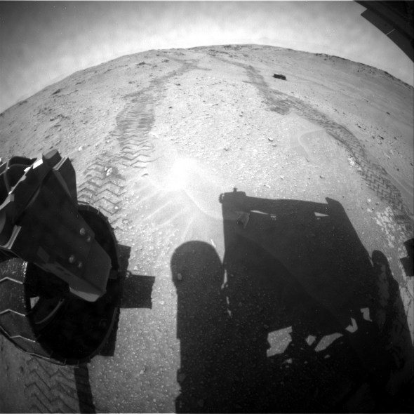 This image was taken by Rear Hazcam: Left B (RHAZ_LEFT_B) onboard NASA's Mars rover Curiosity on Sol 758 (2014-09-23 20:53:00 UTC). Image Credit: NASA/JPL-Caltech.