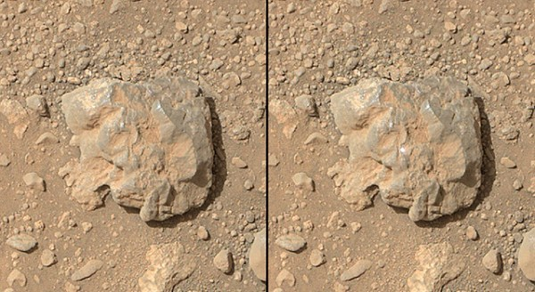 """""""NASA's Curiosity Mars rover used the Mars Hand Lens Imager (MAHLI) camera on its arm to catch the first images of sparks produced by the rover's laser being shot at a rock on Mars."""" Credit: NASA/JPL-Caltech/MSSS."""