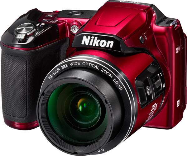 Nikon COOLPIX L840, red, with 38x optical zoom NIKKOR ED glass lens.