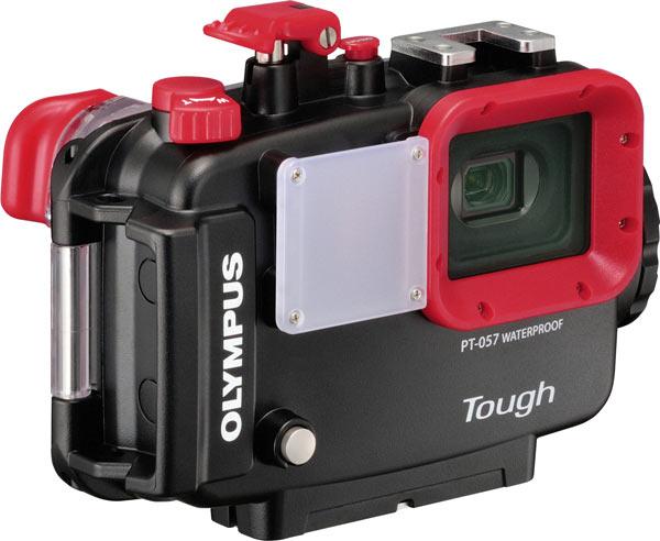 Olympus Stylus Tough TG-860, orange, with PT-057 Underwater Case; front