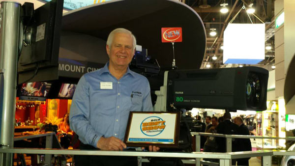 Thom Calabro, director of Marketing and Product Development for the Optical Division of FUJIFILM, received a TV Technology Best of Show Award during the 2015 NAB Show for Fujinon's new 4K Ultra HD Series of lenses.