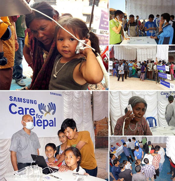 """Samsung """"Care for Nepal"""": Second camp set up and operating on May 5 in Bhaktapur. Images Courtesy of Samsung Tomorrow"""