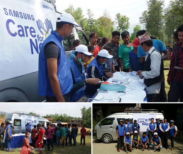 """Samsung """"Care for Nepal"""": Communication centers in vans. Images Courtesy of Samsung Tomorrow"""