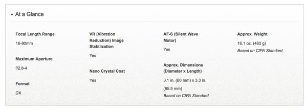 AF-S DX NIKKOR 16-80mm f/2.8-4E ED VR : Specifications at a glance