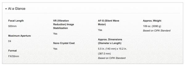 AF-S NIKKOR 500mm f/4E FL ED VR: Specifications at a glance