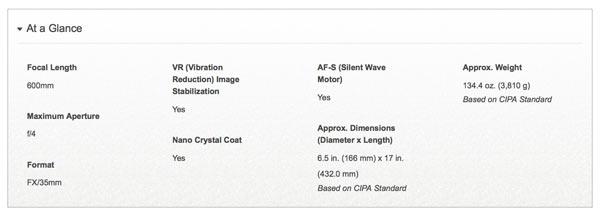 AF-S NIKKOR 600mm f/4E FL ED VR: Specifications at a glance