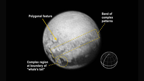 The newest black and white image from New Horizons' Long Range Reconnaissance Imager (LORRI) appeared on Earth the morning of July 10, 2015. An annotated image of Pluto indicates features and includes a reference globe showing Pluto's orientation with the equator and central meridian in bold. Credits: NASA-JHUAPL-SWRI