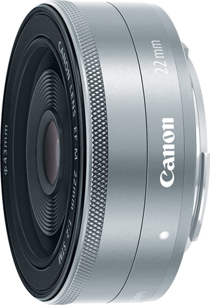 Canon EF-M 22mm f/2 STM compact prime lens in silver
