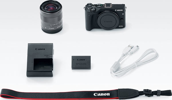 Canon EOS M3 camera and EF-M 18-55mm IS STM lens kit in black