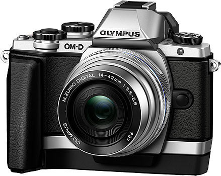 OM-D E-M10 Camera with M.ZUIKO DIGITAL ED 14‑42mm 1:3.5‑5.6 EZ Pancake Lens + Grip