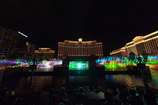16 Panasonic projectors (brightness: 20,000 lumens) used for one of the world's largest Water Screen Projections at Fountains of Bellagio in Las Vegas: Image Courtesy of Panasonic