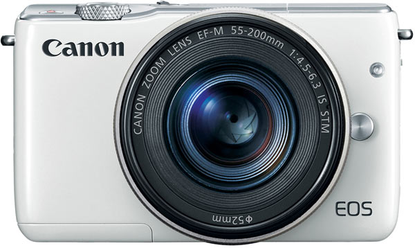 Canon EOS M10, white, EF-M 55-200mm f/4.5-6.3 IS STM zoom lens