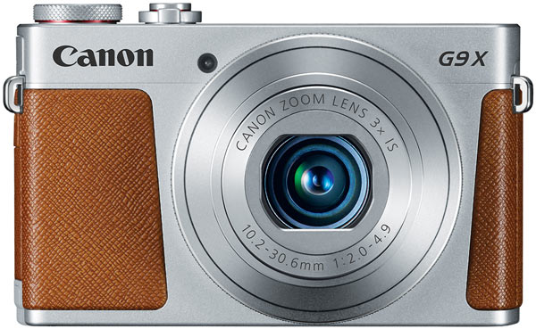 Canon PowerShot G9 X, silver-gray body with brown stitched leather accents