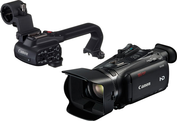 Canon XA30 with detached hand grip