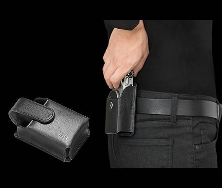 Ricoh GR II Silver Edition's black, genuine-leather camera case