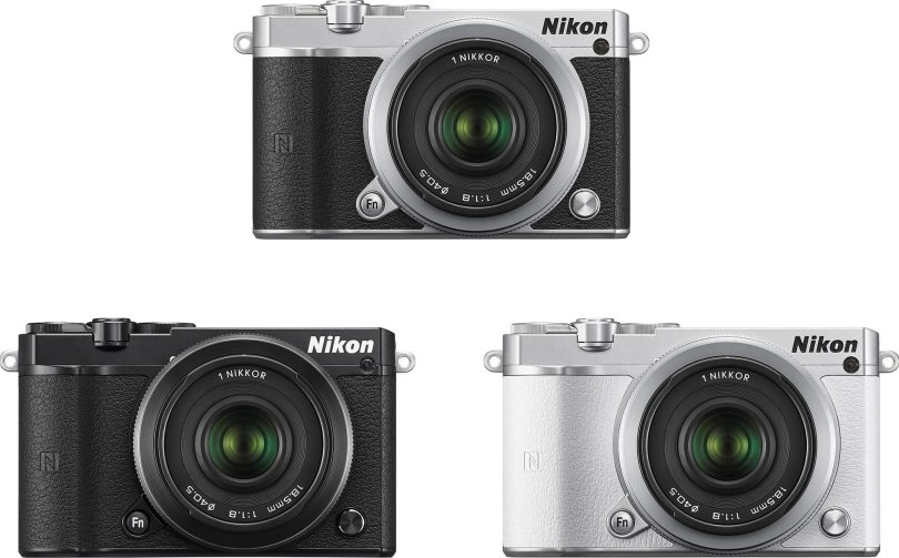 Advanced Camera with Interchangeable Lenses, Nikon 1 J5, receives product design, iF Design Award 2016: (clockwise) silver, white, and black