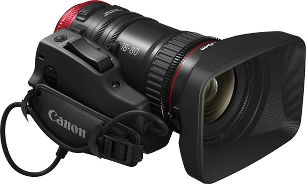 Canon Compact-Servo 18-80mm Zoom Lens with optional grip accessory, Canon ZSG-C10