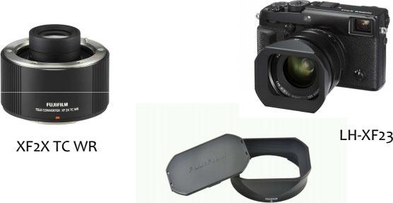 Clockwise: Fujifilm X-Pro2 camera; LH-XF23 lens hood; FUJINON TELECONVERTER XF2X TC WR
