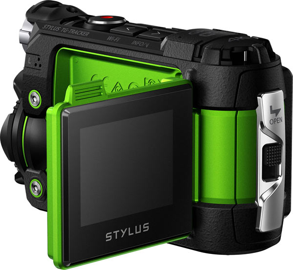 Olympus Stylus Tough TG-Tracker, green: tilt-out LCD monitor
