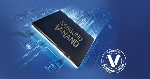 """Samsung's advanced V-NAND technology """"overcomes the capacity limitations of traditional 2D NAND technology with its revolutionary vertical design. V-NAND also applies innovative Charge Trap Flash (CTF) technology which prevents data corruption caused by cell-to-cell interference. The synergy of both structural and material innovations leads to improved speed, power efficiency, and endurance."""" http://www.samsung.com/semiconductor/products/flash-storage/v-nand/"""