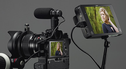 Fujifilm X-T2: Simultaneous HDMI output and Built-in stereo connector: Image Courtesy of Fujifilm