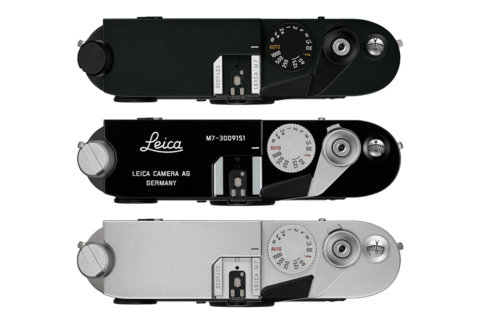 Three different finishes for your Leica M (top to bottom): Black Paint/Lacquered Finish, Black Chrome Finish, Silver Chrome Finish