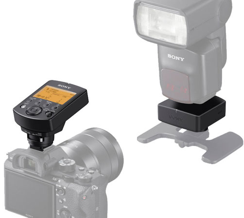 Sony FA-WRC1M wireless radio commander (left and above the Sony camera) and Sony FA-WRR1 wireless radio receiver (right and below the Sony flash unit)