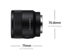 Sony FE 50mm F2.8 Macro: Dimensions (Diameter x Length) 2 7/8 x 2 7/8 inches (70.8 x 71 mm)