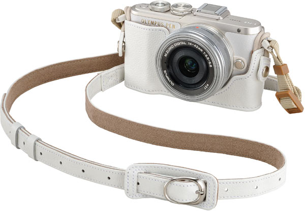 Olympus PEN E-PL8 (White) + optional Genuine Leather Body Jacket, CS-45B (White) + bundled Genuine Leather Shoulder Strap, CSS-S109LL II (White)
