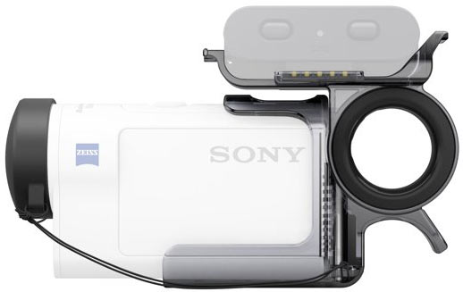Sony AKA-FGP1 finger grip for HDR-AS300 (above) or FDR-X3000R: Just attach and join Action Cam with Live-View Remote for composition check and shooting while walking.