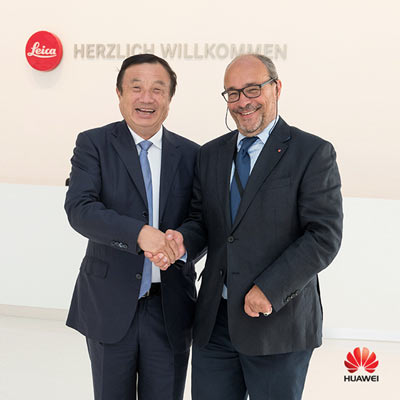 Ren Zhengfei, CEO of Huawei (left) and Dr. Andreas Kaufmann, majority shareholder and chairman of the advisory board of Leica Camera AG (right)