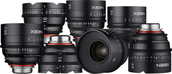 The XEEN family: Left to right, top row - 16mm T2.6, 85mm T1.5, 50mm T1.5; left to right, bottom row - 135mm T2.2, 14mm T3.1, 35mm T1.5, and 24mm T1.5