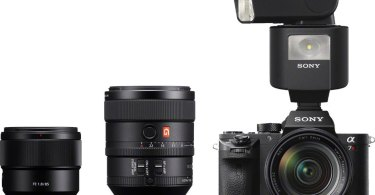 Sony (left to right): FE 85mm F1.8, FE 100mm F2.8 STF GM OSS, α7R II camera with HVL-F45RM Radio-Controlled Flash